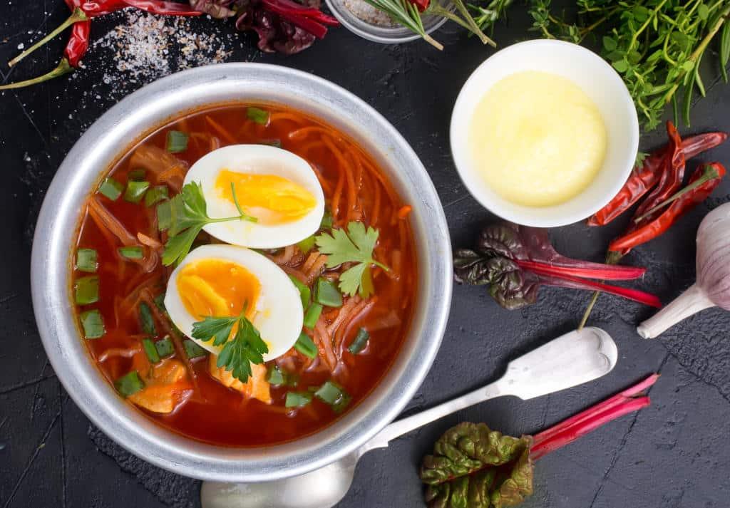 Receta de Sopa de Tomate con Huevo